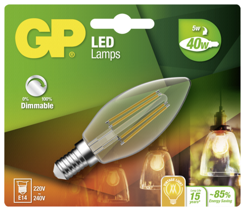 GP Lighting Filament Kerze E14 D 5W (40W) dimmbar 470 lm